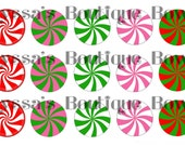 Peppermint swirl candy image sheet 1 inch circle 4x6 bottle cap hair bow necklace jewelry