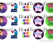 Justin Bieber fever image sheet 1 inch circle 4x6 bottle cap hair bow necklace jewelry
