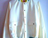 Reserved for TripNip    Leagalize 80s jacket white cream green Marijuana Weed leaf buttons Small Medium Boasters