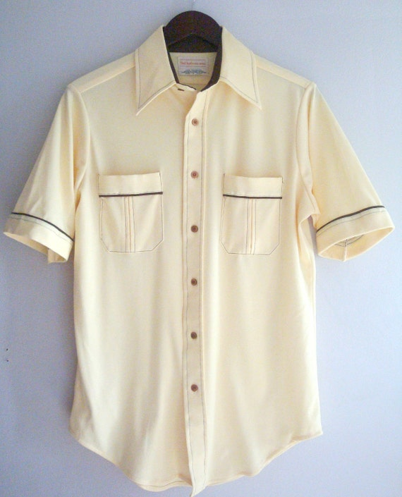 Buttery Yellow Button Up with Dark Brown Piping