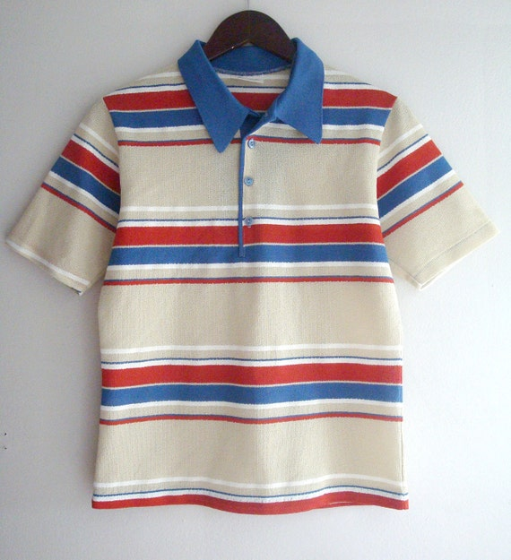 Small vintage red and blue striped polo shirt for Red blue striped shirt
