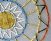 Embroidered Hoop Art with Weaving and Circles