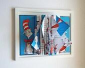Dr. Seuss, Book Sculpture, Childrens Room Decor, Wall Art, Nursery Decor