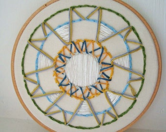 Embroidery Hoop Art with Weaving and Circles