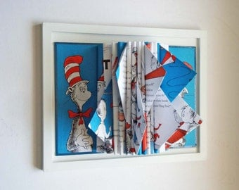 Dr. Seuss, Book Sculpture, Childrens Room Decor, Wall Art, Nursery Decor