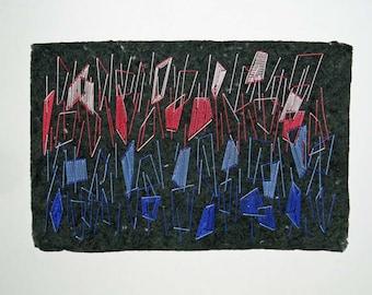 Embroidered Handmade Paper, Geometric Design, Fiber Art Piece