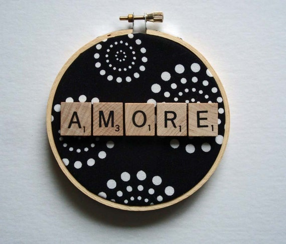 Hoop Art with Scrabble Tiles, Amore, Valentines Day Gift