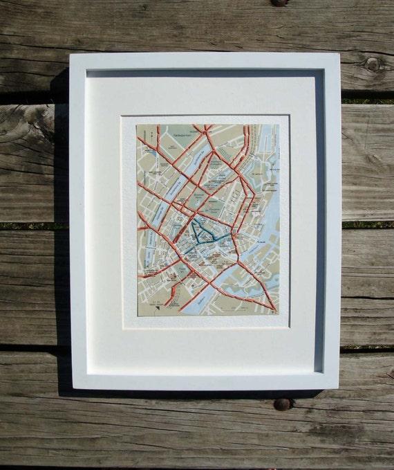 Copenhagen Denmark Embroidered Map