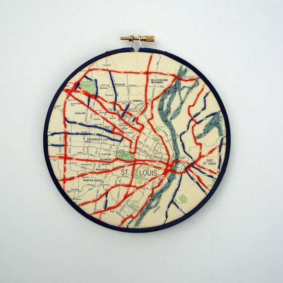 Map Embroidered St. Louis
