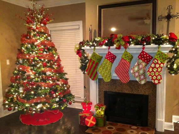 Set of 2 Christmas Stockings- Personalized Free