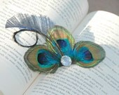 Peacock Feathers Hair Clip Vintage Style Blue Turquoise Aqua Green Party Bridal Wedding Rhinestone