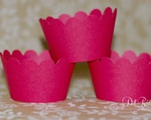 Solid Red Cupcake Wrappers - Cupcake Wraps Set of 24 - Standard or Mini