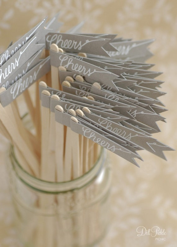 50 Gray Paper Flag Stir Sticks or Drink Stirrers with White Calligraphy