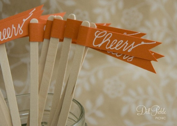 25 Orange Drink Stirrer Sticks with Calligraphy Cheers