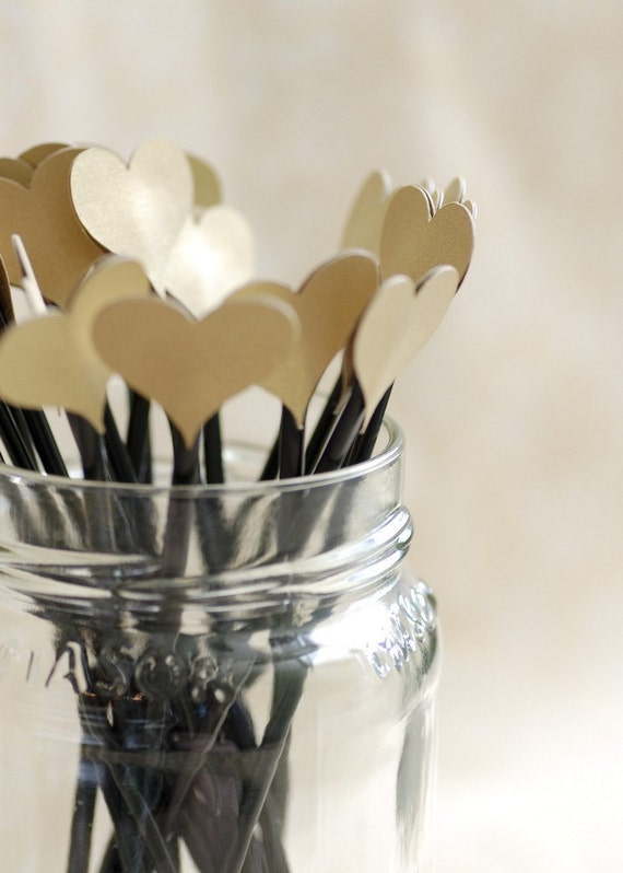 50 Gold Shimmery Heart topped drink stirrers / stir sticks