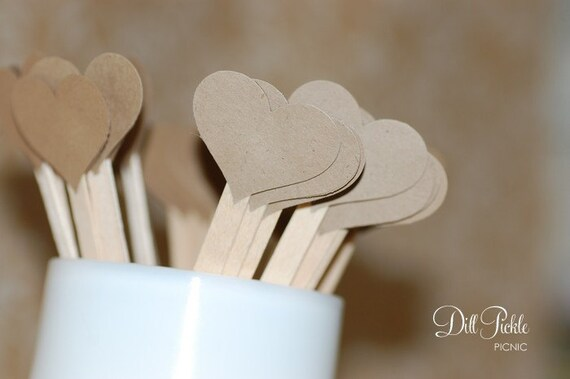 25 Kraft Heart topped drink stirrers / stir sticks - Great for Weddings & Showers