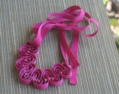 Ribbon Necklace: Peony grosgrain with pink tiger's eye beads