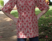 custom listing for JulietBell-red damask print shirt