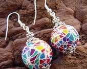 Earrings Rainbow Mosaic Polymer Clay