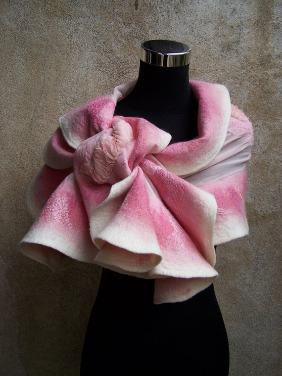 Hand nunofelted ruffle wool and cotton romantic scarf