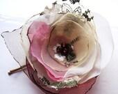 Bridal handmade organza hair flower. mixed fabrics  fascinator