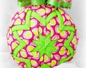 Handmade Quilted Christmas Ornament Ball - Watermelon - Holiday weekend SALE price