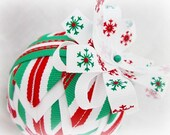 Handmade Quilted Christmas Ornament Ball - Cinnamon