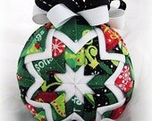 Handmade Quilted Christmas Ornament Ball - Season's Greetings - Holiday weekend SALE price