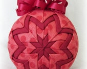 Handmade Quilted Christmas Ornament Ball - Cranberry Dot - Holiday weekend SALE price