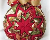 Handmade Quilted Christmas Ornament Ball - Quilted Christmas - Holiday weekend SALE price