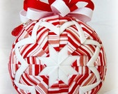 Handmade Quilted Christmas Ornament Ball - Peppermint Stripe - Holiday weekend SALE price