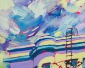 Baltimore Row House Oil Painting Giclee Fine Art Print 6 x 10 (10 x 12 white border)