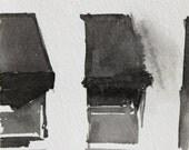 Original Ink Drawing - City Row House Windows