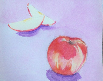 Peach Fruit Original Watercolor Painting
