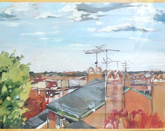 Original Oil Painting - Baltimore Rooftops Cityscape