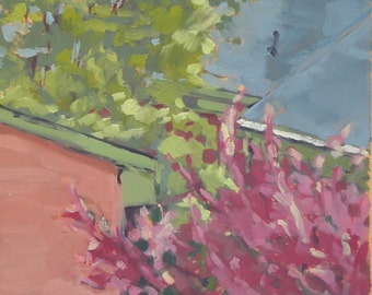 Baltimore Rooftops and Trees Original Oil Painting