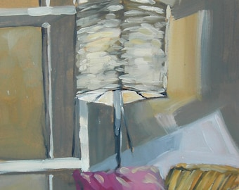 Living Room Couch Lamp Original Oil Painting