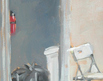 Apartment Chair and Doorway Original Oil Painting