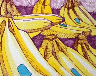 Watercolor and Sharpie Banana Bunches Painting Original