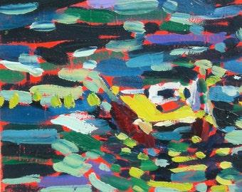 Sorrento Italy Yellow Boat Ocean Original Oil Painting