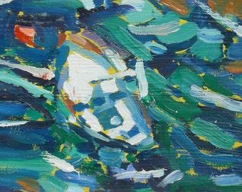 Sorrento Italy White Boat Ocean Original Oil Painting