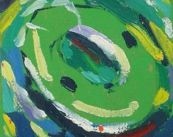 Sorrento Italy Neon Green Life Raft Ocean Original Oil Painting