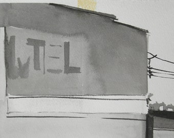 City Motel Power Lines Ink Drawing