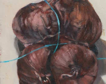 Recycled Wood Original Oil Painting - Garlic with Turquoise String 1