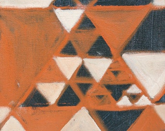 Original Oil Painting Geometric Abstract Navy Blue and Orange Small