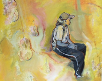 Original Oil Painting - Girl With Violins
