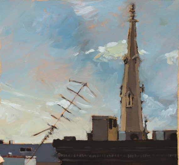 Baltimore Rooftops Church Original Oil Painting