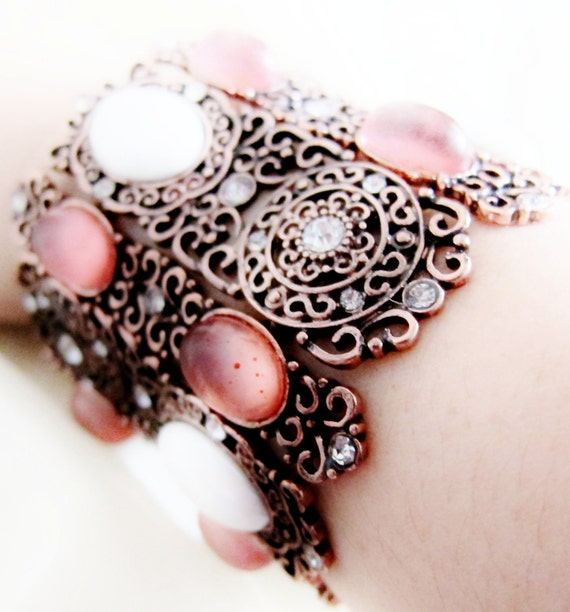 copper bracelet cabochon glass acrylic white fuschia bb024 - RESERVED for Iris Choo