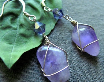 Amethyst Stone Swarovski Earrings