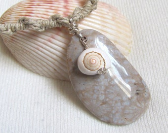 Fossil Coral and Shell Hemp Necklace